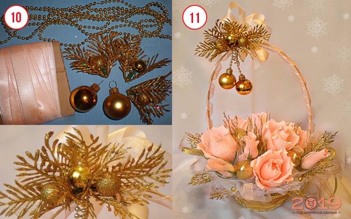 Цветы из конфет шаг 4
