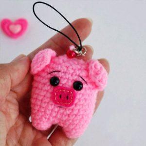 Брелок розовая свинка в подарок на новый 2019 год