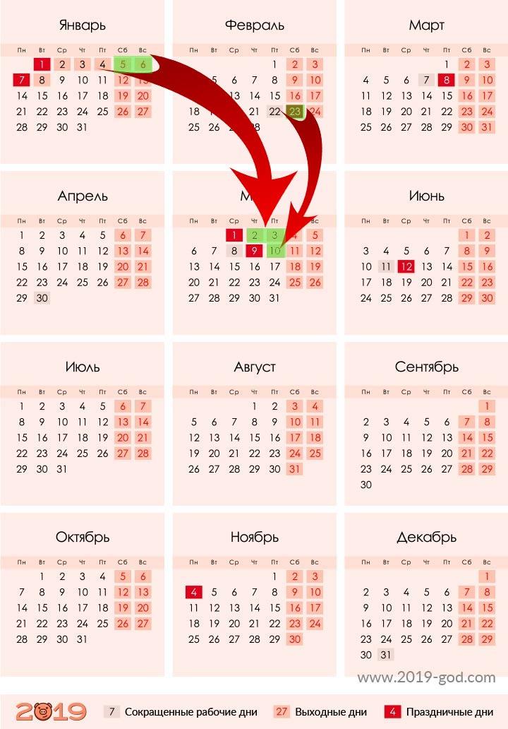 Петенос праздничных дней в 2019 году