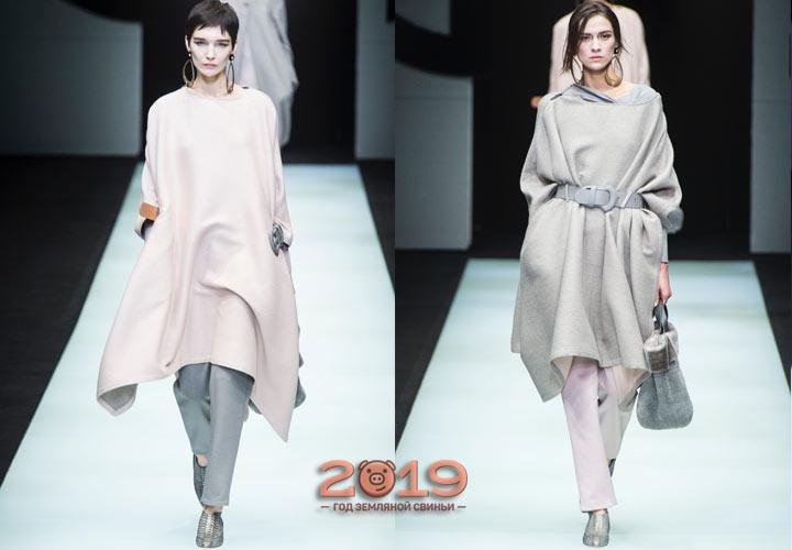 Модные пончо коллекции Армани осень-зима 2018-2019