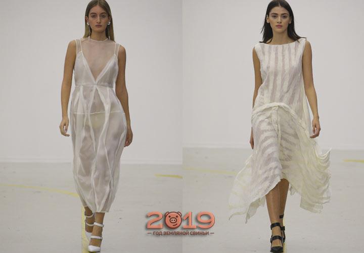 Модные белые сарафаны 2019 года