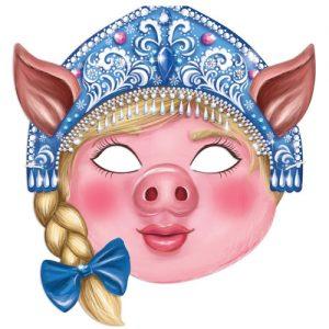 """Шаблон новогодней маски """"Свинья"""" на 2019 год"""