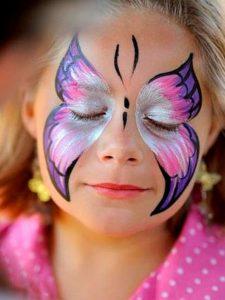 Аквагрим бабочка на Новый Год для девочки