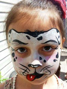 Аквагрим котик на Новый Год для девочки