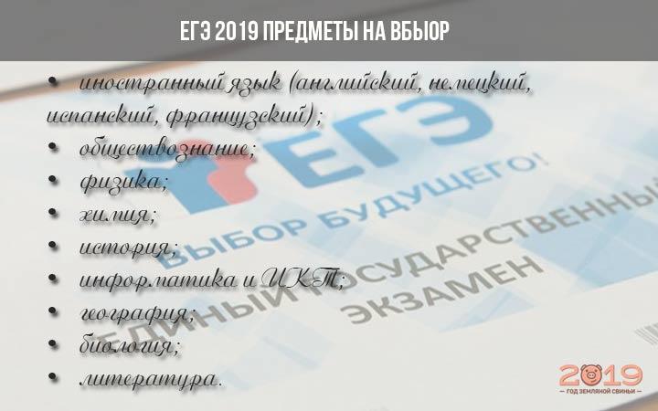 Предметы ЕГЭ 2019 по выбору