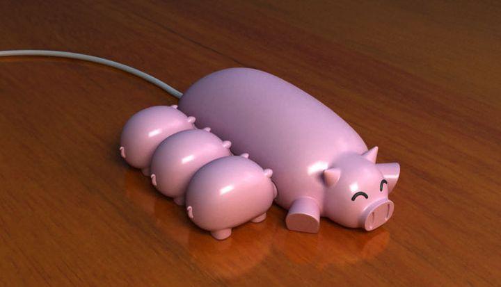 Юсб-хаб в виде свинки