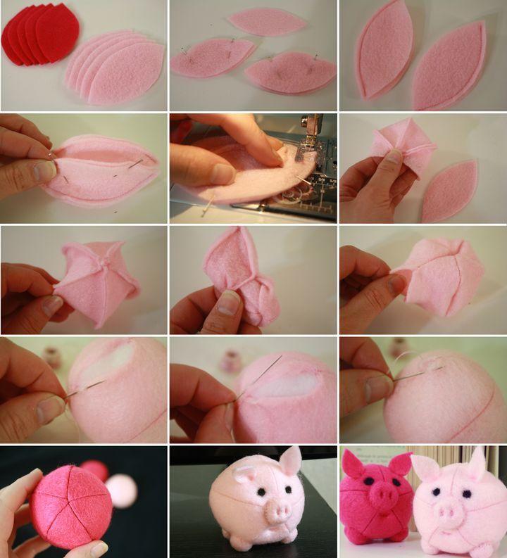 Новогодний шар в виде свинки своими руками