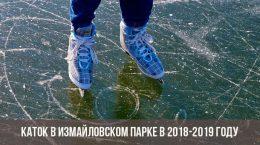 Каток в Измайловском парке 2018-2019 году