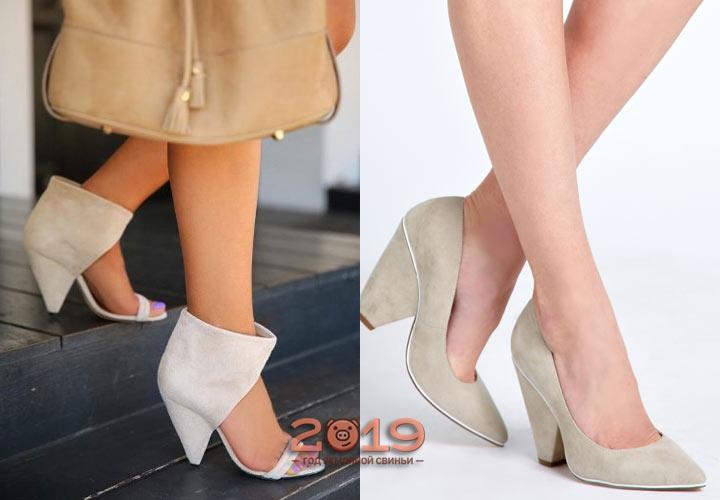 Туфли со скошенным каблуком весна-лето 2019