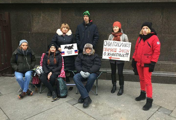 Протест в защиту закона о животных