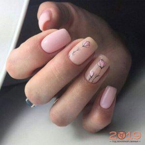Модный дизайн ногтей 2019 в нюдовых тонах