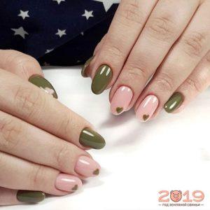 Модный дизайн ногтей 2019 в оливковых тонах