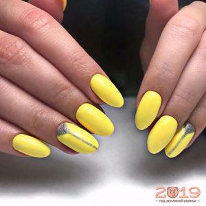 Модный дизайн ногтей 2019 в желтом цвете
