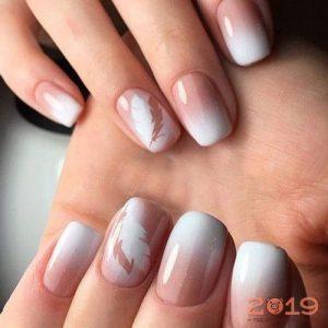 Дизайн ногтей белые перья мода 2019 года