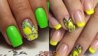 Модный дизайн ногтей 2019 бабочки на желтом и зеленом фоне