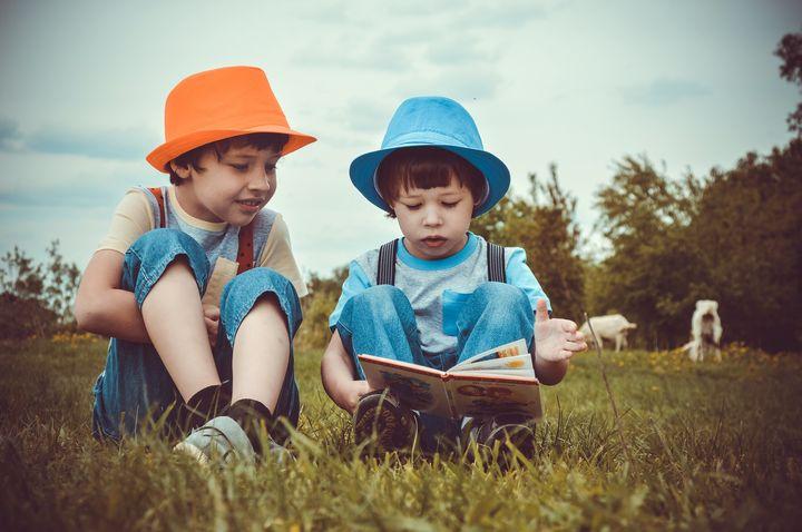 Мальчики на лугу читают книгу