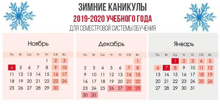 Зимние каникулы 2019-2020 для семестровой системы обучения