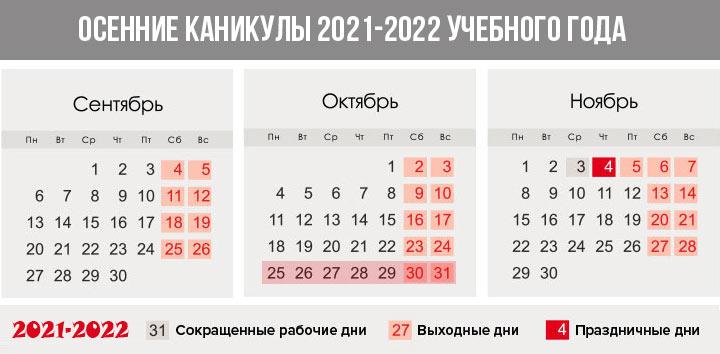 Осенние каникулы 2021-2022 года - семестровая система