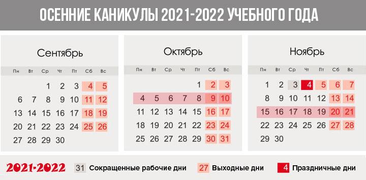 Осенние каникулы 2021-2022 года - система триместров