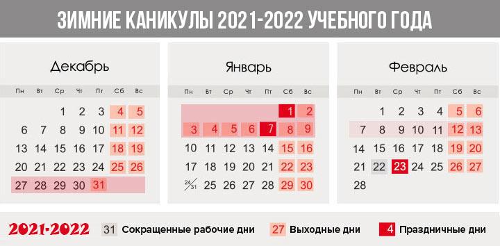 Зимние каникулы 2021-2022 учебного года - четверти и семестры