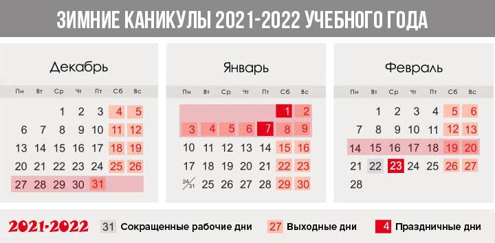 Зимние каникулы 2021-2022 учебного года - триместры