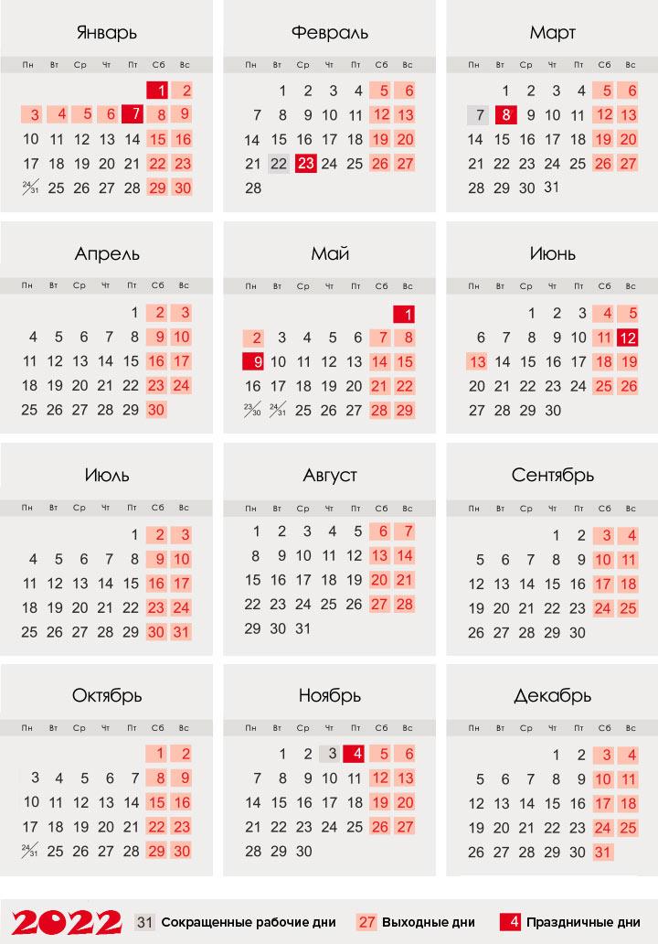 Календарь 2022 года
