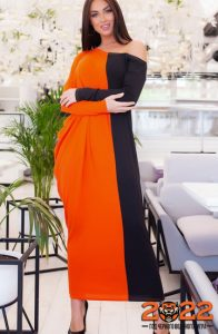 Красивое платье на 2022 год черно-оранжевой гамме