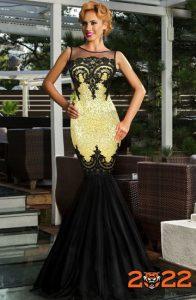 Красивое черно платье с желтым акцентом на 2022 год