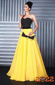 Красивое желто-черное платье на 2022 год
