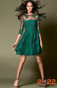 Зеленое новогоднее платье беби-дол на 2022 год