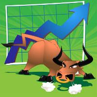 бык на фоне графика