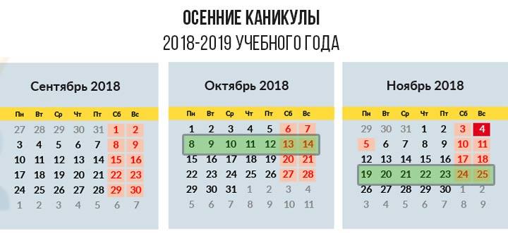 Осенние каникулы по триместрам 2018-2019 учебный год