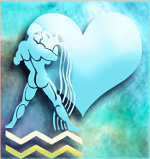 знак зодиака водолей на фоне сердца