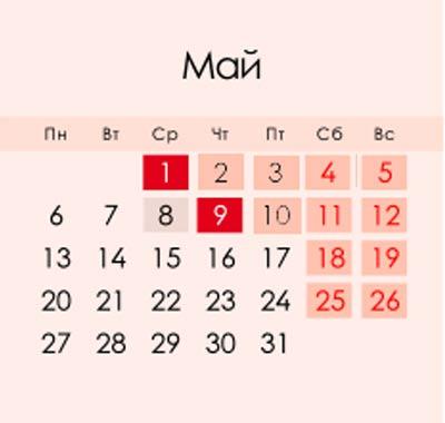 Календарь праздничных и выходных дней на май 2019 года