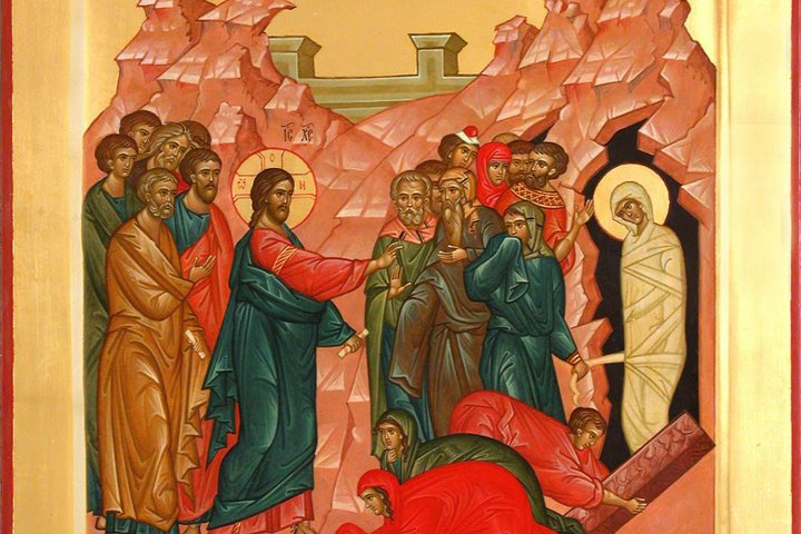 икона с воскрешением Лазаря