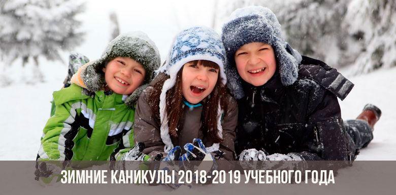 Зимние каникулы 2018-2019 учебного года»