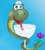 змея в медицинской шапочке и с бокалом и цветком