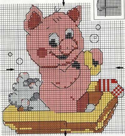 схема вышивки свиньи символа года 2019