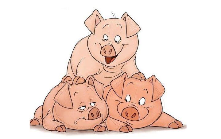 Новогодний плакат свинки