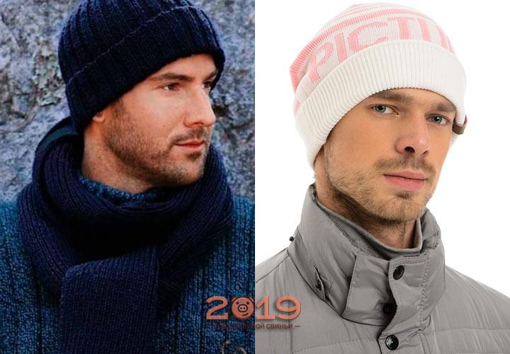 Модная мужская шапка с отворотом на 2019 год