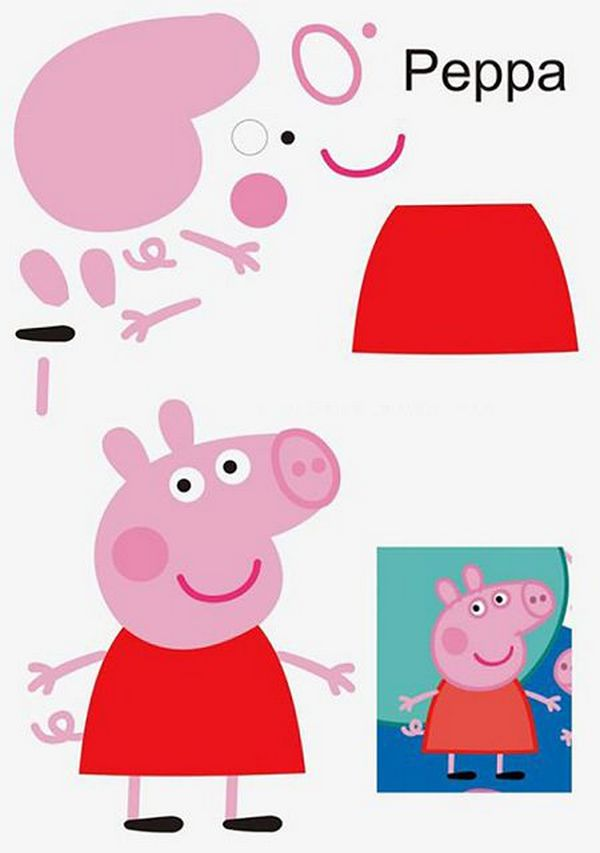 Аппликация свинка Пеппа