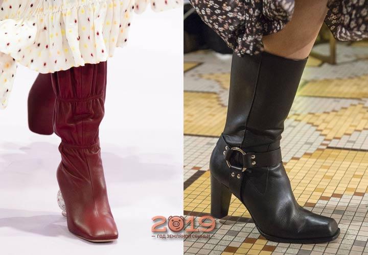 Сапоги с квадратным носком мода 2018-2019 года