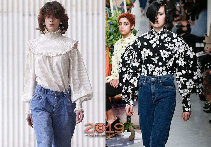 Блузка к джинсам мода 2018-2019 года